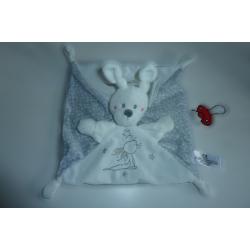 Doudou lapin blanc gris Nicotoy SOS Doudou