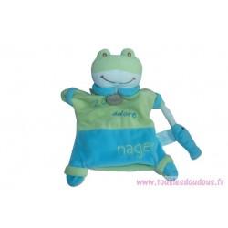 Doudou marionnette grenouille Zoé adore nager BN698 Baby'Nat SOS Doudou